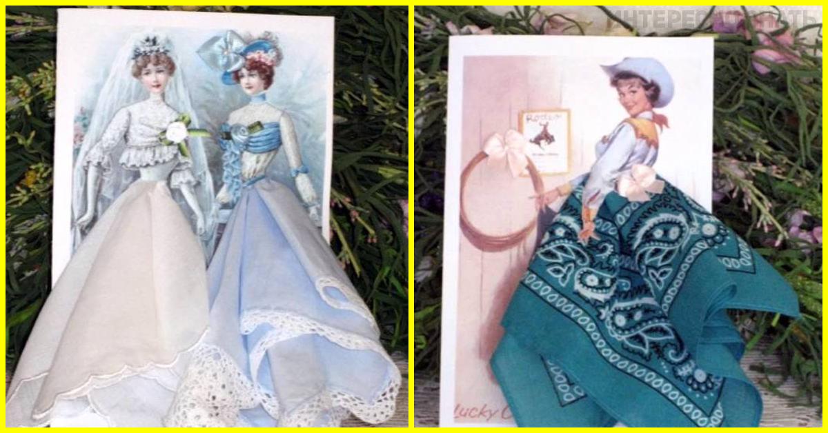 Летним юбилеем, фантазийные открытки с использованием платочков