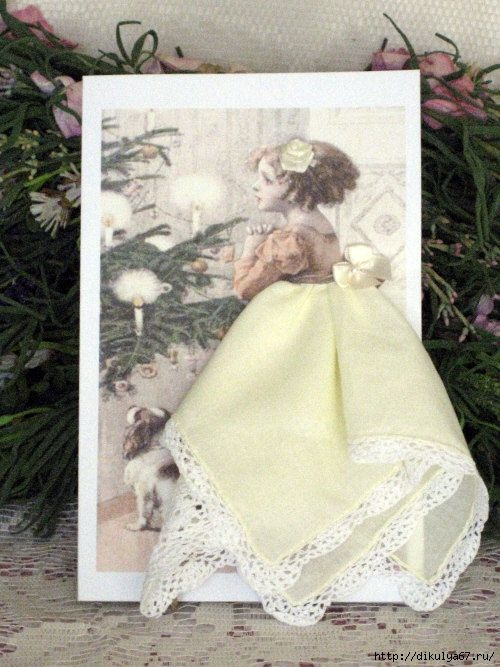 Как сделать открытку с платком, юмором