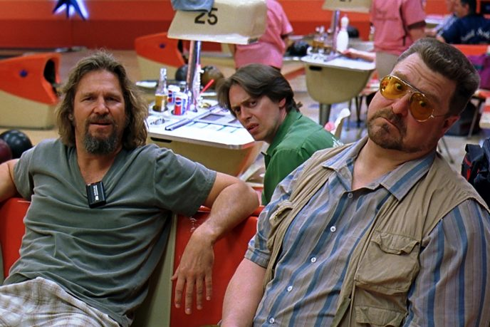 """Jeff Bridges as """"The Dude"""" hangs out at the bowling alley with his buddies Walter (John Goodman) and Donny (Steve Buscemi). Courtesy Universal Studios."""