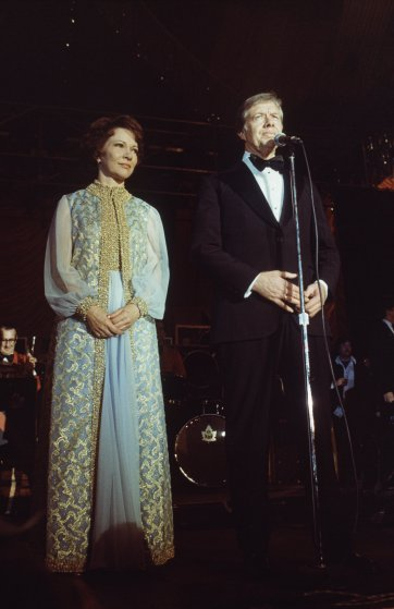President Jimmy Carter and Mrs. Carter in the blue room of the White House in Washington, following his inauguration, Jan. 21, 1977. (AP Photo/Peter Bregg)