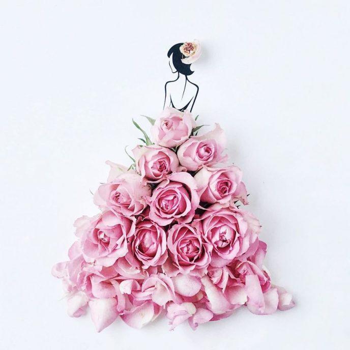 Нарисованные платья цветами