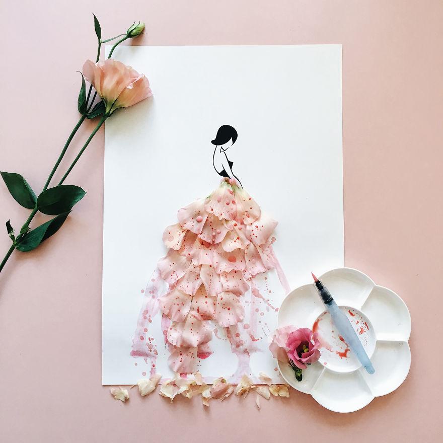 Весну, открытка платье из цветов