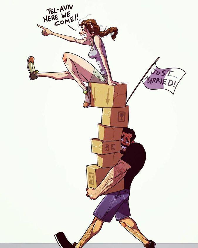 Художник из Тель-Авива иллюстрирует повседневную жизнь со своей женой