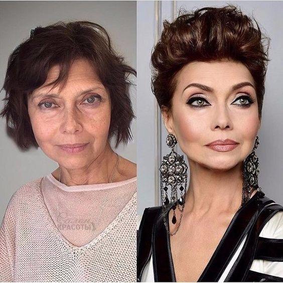 Впечатляющие примеры того, как макияж стирает возраст и меняет черты лица 5
