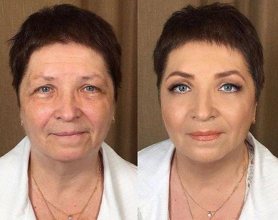 Впечатляющие примеры того, как макияж стирает возраст и меняет черты лица 9